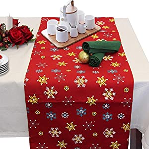 Homescapes   Christmas   Table Runner   Red Snowflake   X Mas Design   15 X  55 Inch   100% Cotton   White Green And Red Colour   Washable At Home