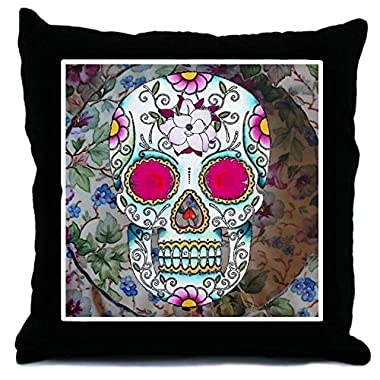CafePress - Tea Cup Sugar Skull Throw Pillow - Throw Pillow, Decorative Accent Pillow