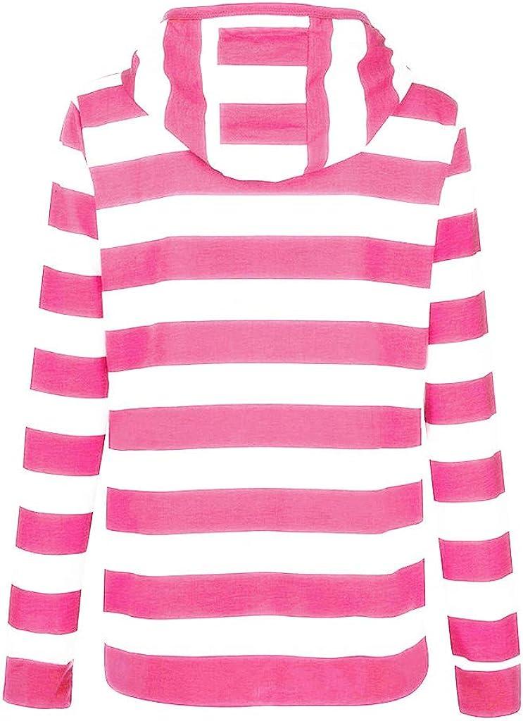 HULKY Pullover Damen Herbst Winter Hoodie Swearshirt Streifen Patchwork Kapuzenpullover mit Rei/ßverschluss Sport Slim D/ünnen Mantel Jacke S-L4