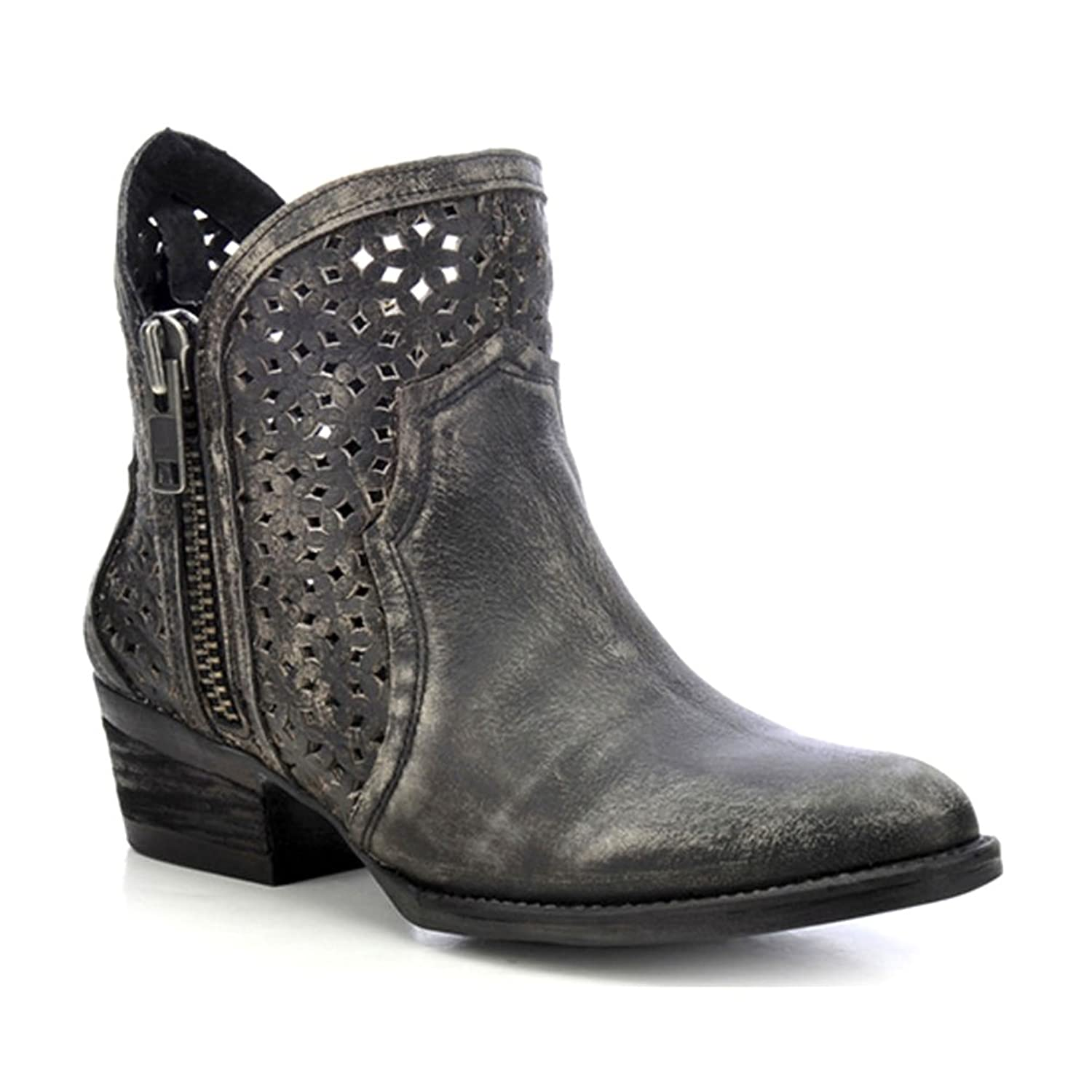 Women's Circle G by Corral Ankle Boot Cowhide Round Toe Boot Charcoal