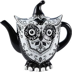 D'oramie Owl TeaPot, (40 oz) Porcelain Animal Tea Coffee Pot Teaware,Hand Painted Kitchen Decor Table Decor Gift Home Teatime Drinkware,unique collection Black