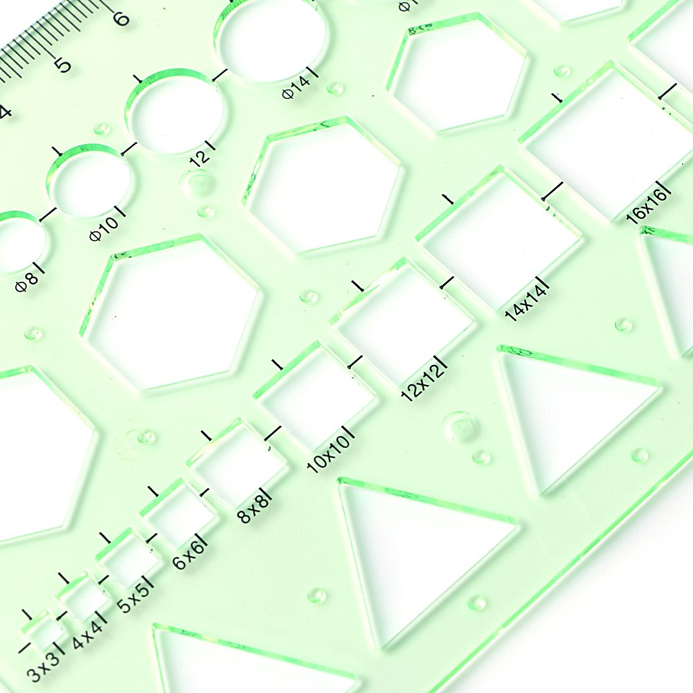 Misright Plastic Circle Square Hexagon Geometric Template Ruler Stencil Measure Tool NEW by Misright (Image #6)