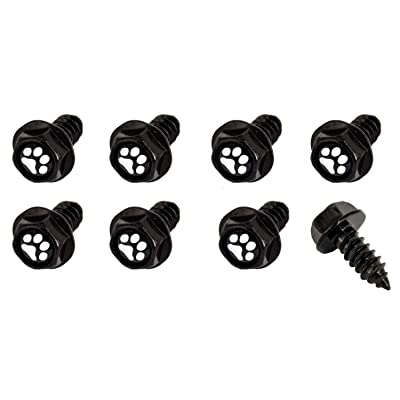 Cutequeen Little License Plate Frame Bolts Screws Metal(Pack of 8) (Black, White Paw Print Black Base): Automotive