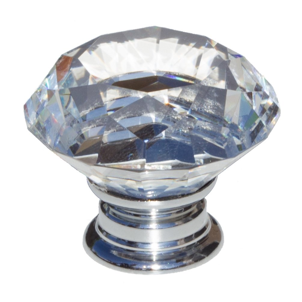 GlideRite Hardware 9054-CR-40-25 K9 Crystal Diamond Shape Cabinet Knobs, 25 Pack, Large, Clear by GlideRite Hardware (Image #1)