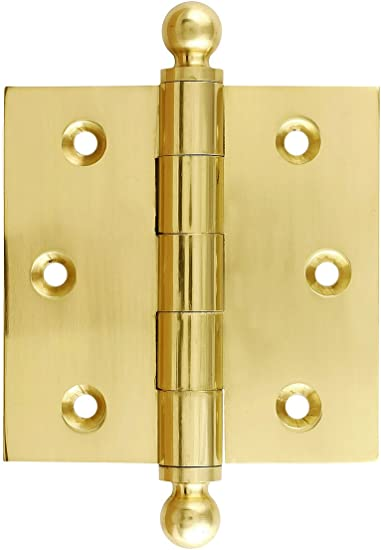 House of Antique Hardware R-04DE-108-UL Solid Brass Eastlake 3 1//2 Ball Tip Hinge in Unlacquered Brass
