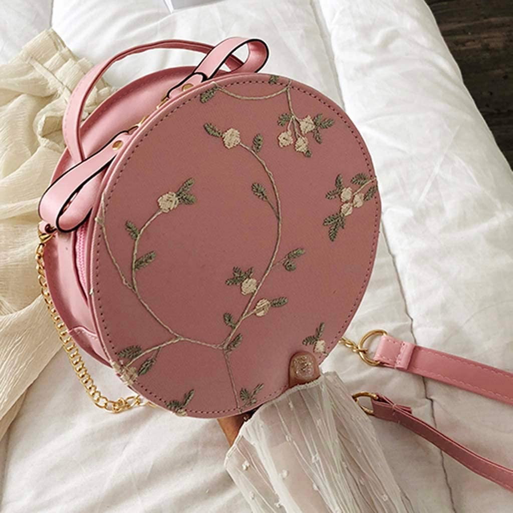 Womens Crossbody Fresh Chic Chinese Classical Ethnic Style Floral Embroidery Small Round Shoulder Bag Handbag