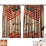 Jinguizi 4th of July Darkening/Blackout Wooden Planks Background with United States Flag Design and Colorful Banner Microfiber Darkening Curtains Multicolor W55 x L39