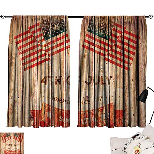 Jinguizi 4th of July Darkening/Blackout Wooden Planks Background with United States Flag Design and Colorful Banner Microfiber Darkening Curtains Multicolor W55 x L39 by Jinguizi (Image #6)