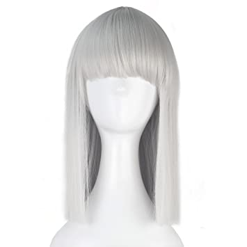 8462fbe83 Amazon.com: Women Girl Medium Long Straight Bob Style Hair Synthetic Unisex  Party Cosplay Costume Wig Halloween (Silver Grey): Beauty