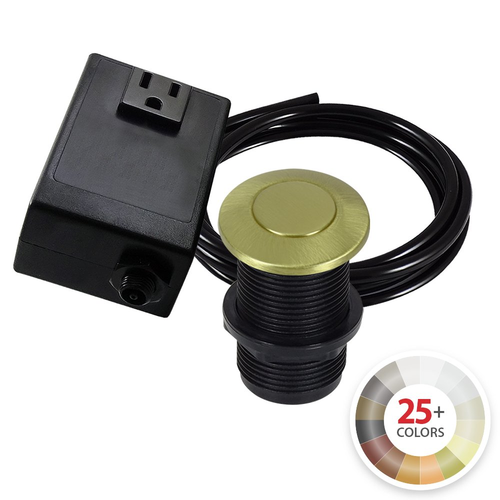 Single Outlet Garbage Disposal Turn On/Off Sink Top Air Switch Kit in Satin Brass. Compatible with any Garbage Disposal Unit and Available in 25+ Finishes by NORTHSTAR DÉCOR. Model # AS010-SB by NORTHSTAR DECOR