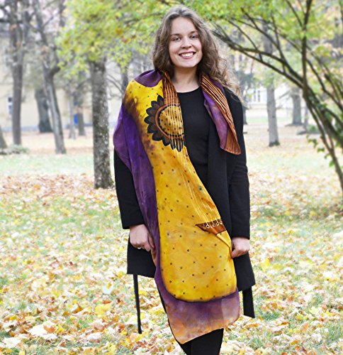 Hand Painted Music Silk Scarf With Guitar Purple Yellow Fall Shawl For Women by AstaSilkWorld