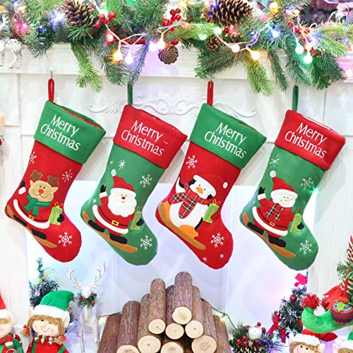 Athoinsu 4 PCS Rustic Christmas Stockings Vintage Xmas Holiday Party Home Decorations Gifts, 20'' (4 Of Christmas Set Stocking)