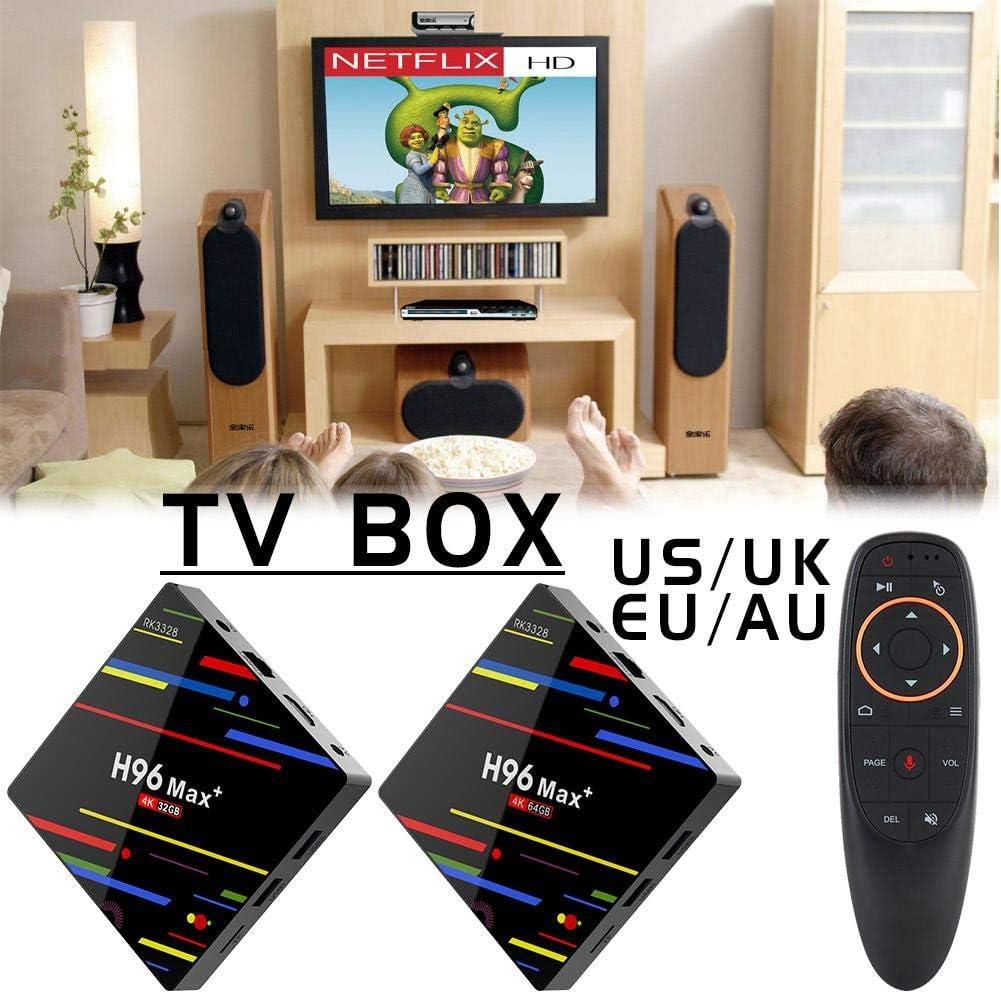 Yunn H96 MAX + RK3328 Smart TV Box, Android 8.1 Quad Core 64bit Cortex-A53 4GB RAM 64GB ROM 4K HD WiFi Caja de TV Inteligente (Versión de Voz: Control Remoto G10): Amazon.es: