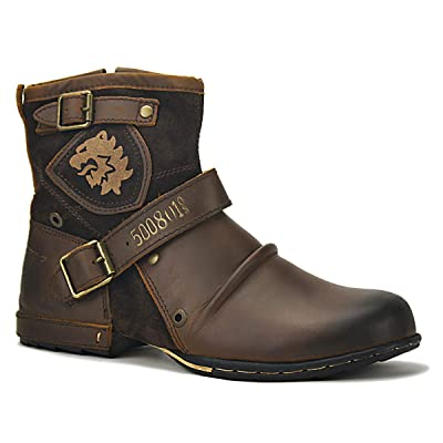 OTTO ZONE Moto Boots for Men Fashion Zipper-up Leather Chukka Boots Casual Shoes OZ-5008-1: Shoes