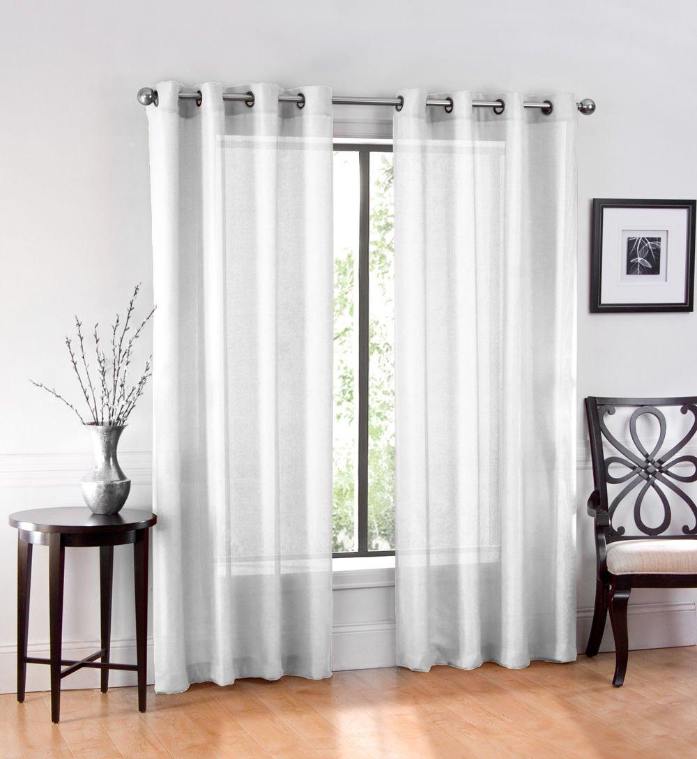 amazoncom 2 pack goodgram ultra luxurious high woven elegant sheer grommet curtain panels assorted colors white home u0026 kitchen
