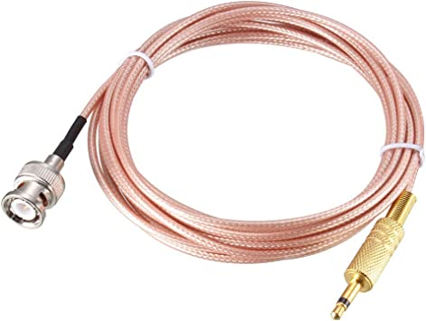 1//8 uxcell BNC Male to 3.5mm Mono TS Male Coaxial Power Audio Cable 50 ohm 6 ft