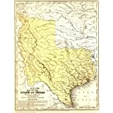 1846 Texas State Stovepipe Map Mitchell Print 20