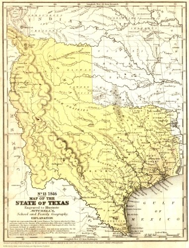 1846 Texas State~Stovepipe~Map~Mitchell~Print~20