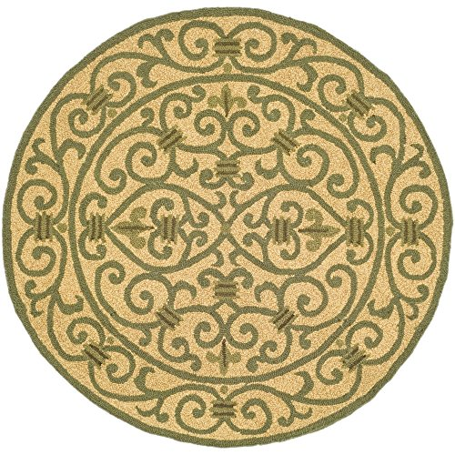 (Safavieh Chelsea Collection HK11G Hand-Hooked Yellow and Light Green Premium Wool Round Area Rug (3' Diameter))