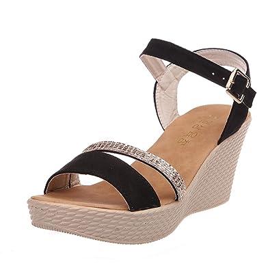 9c6ac3dc7e36 Women s Fish Mouth Platform High Heels Wedge Sandals Buckle Slope Sandals  Flip Flops Casual Flat Shoes
