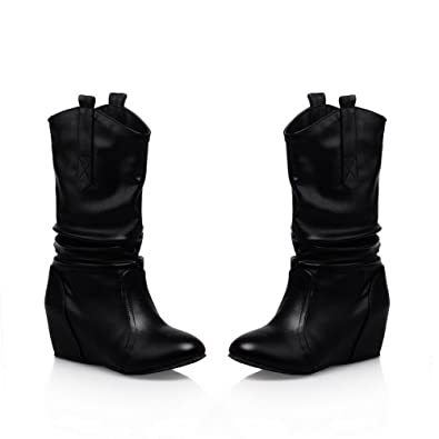 Womens Closed Round Toe Mid Heel PU Patent Leather Short Plush Solid Boots