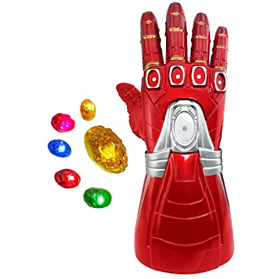 XXF-Iron Man Infinity Gauntlet,Iron Man Infinity Glove LED with Removable Magnet Infinity Stones-3 Flash mode.: Clothing