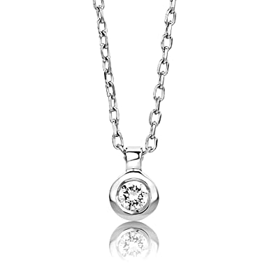 Miore necklace pendant women solitaire white gold 9 kt 375 miore necklace pendant women solitaire white gold 9 kt 375 diamonds 005 ct chain aloadofball Choice Image