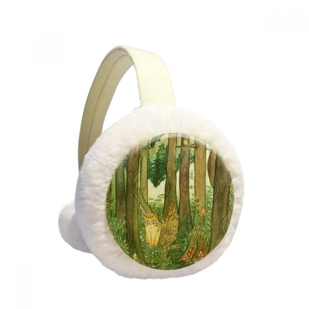 Miaoji Painting Cat Forests Mushroom Winter Earmuffs Ear Warmers Faux Fur Foldable Plush Outdoor Gift