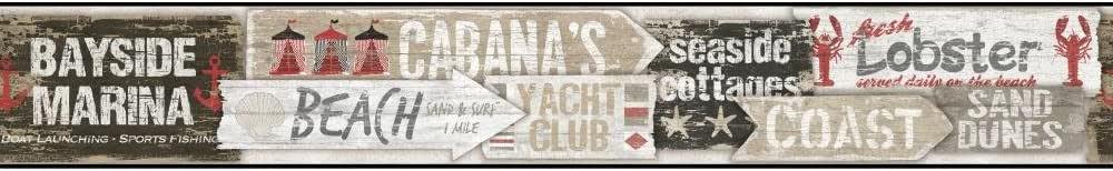 York Wallcoverings NY4879BD Nautical Living Beach Signs Border