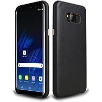 Hallsen Protective Case Slim PU Leather Back Case for Samsung Galaxy S8 (Black)