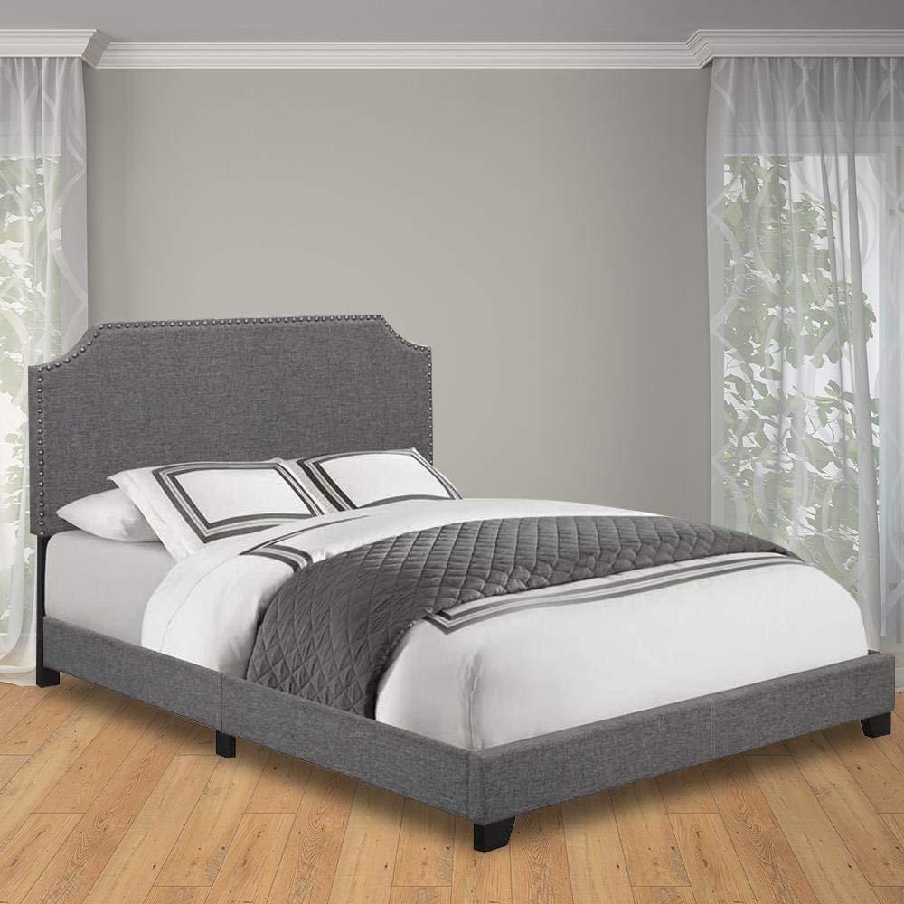 King Pulaski Gray Clipped Corner Upholstered Bed