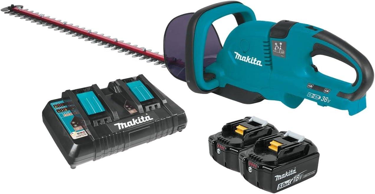 Makita XHU04PT 18V X2 36V LXT Lithium-Ion Cordless 5.0Ah 25-1 2 Hedge Trimmer Kit, 25-1 2-Inch, Teal