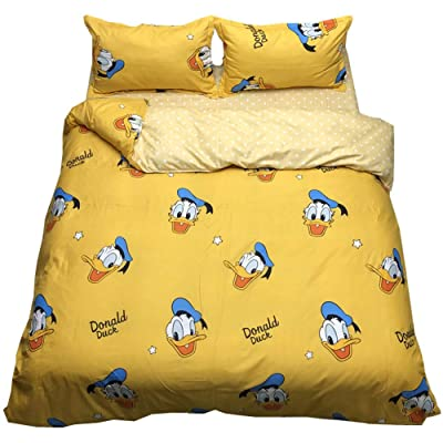 HOLY HOME Kid's Bedding Cartoon Duck Donald Duvet Cover Orange Yellow Bedclothes 4 Pieces (Queen): Home & Kitchen