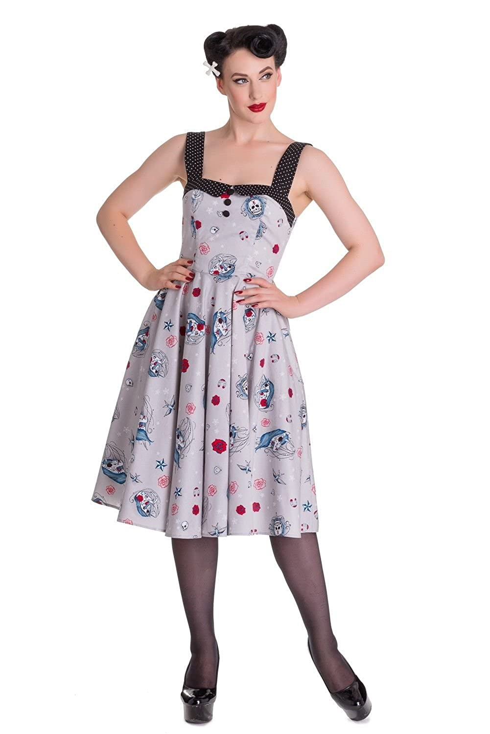 1950s Swing Dresses Hell Bunny Zoey 50s Rockabilly Punk Dress $34.99 AT vintagedancer.com