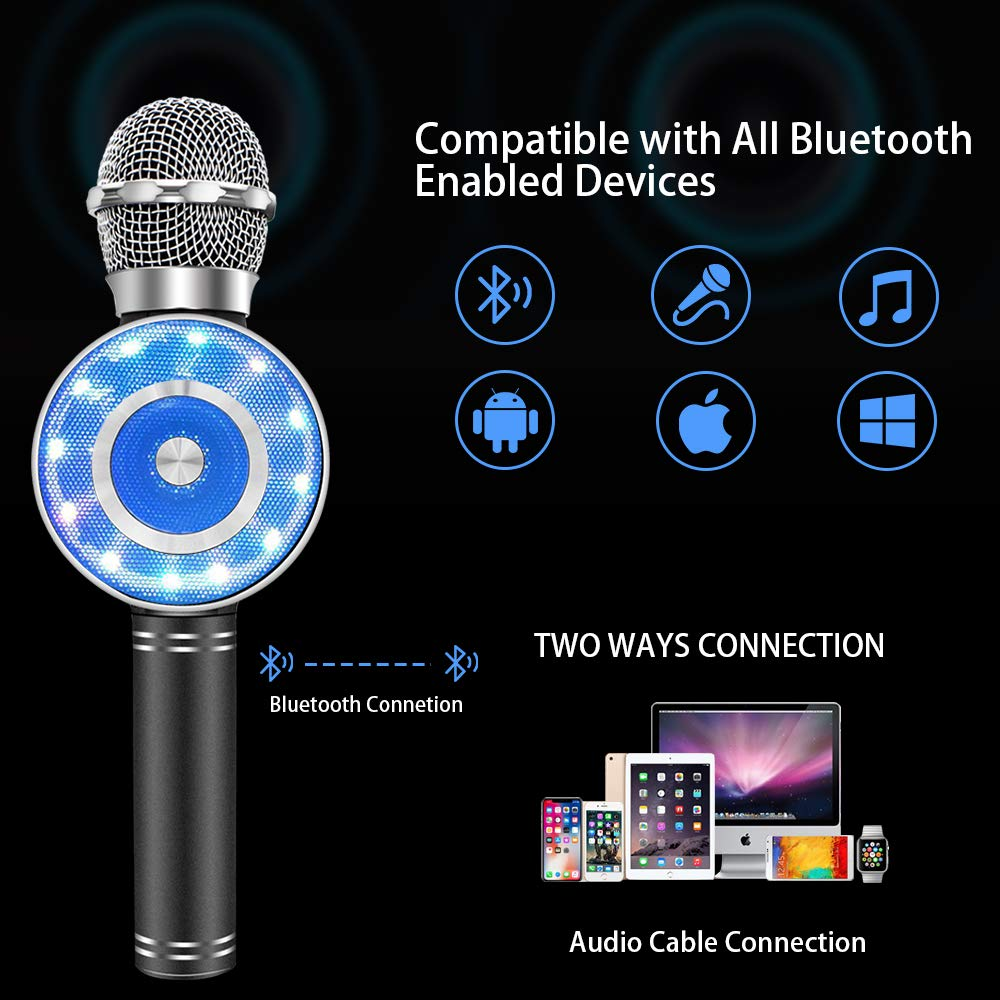 Wireless Karaoke Microphone, Handheld Bluetooth Microphone with Speaker and light Echo Mic Portable Karaoke Player for Kid Adult Girl Home Party Singing Birthday Gift, Compatible iPhone Android by Weird Tails (Image #7)