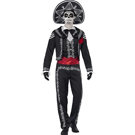 Amakando Costume da Uomo Giorno dei Morti Vestito Dia de Los Muertos L 52 54 a0e9b65c88f3