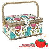 intro to sew - SewKit | Large Sewing Basket Organizer with Complete Sewing Kit Accessories Included | Wooden Sewing Basket Kit with Removable Tray and Tomato Pincushion for Sewing Mending | Blue | 220.19