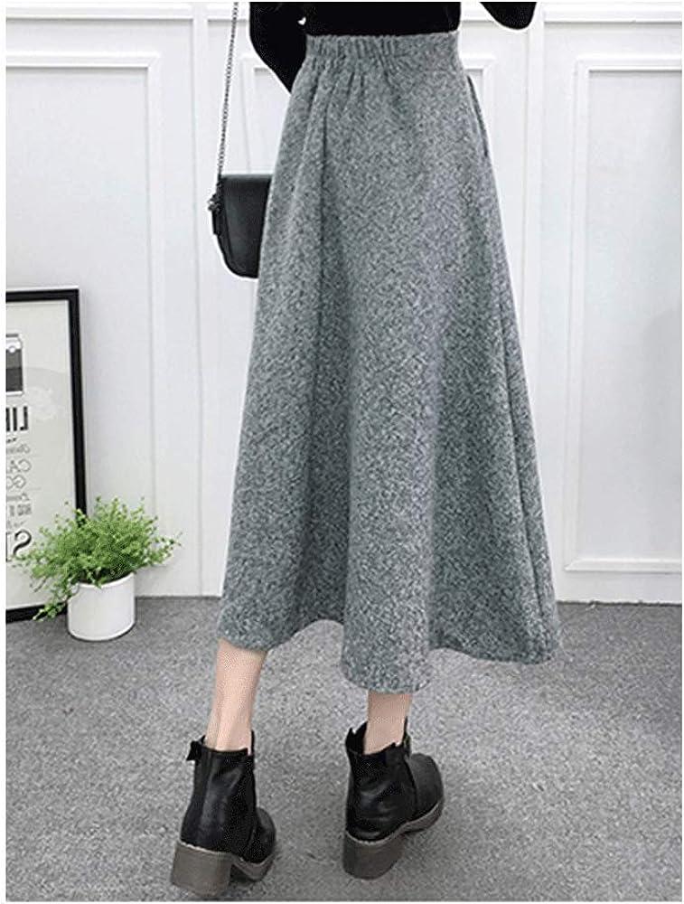 Womens High Waist A-Line Thicken Pleated Flared Skirt Winter Warm Wool Maxi Skirt