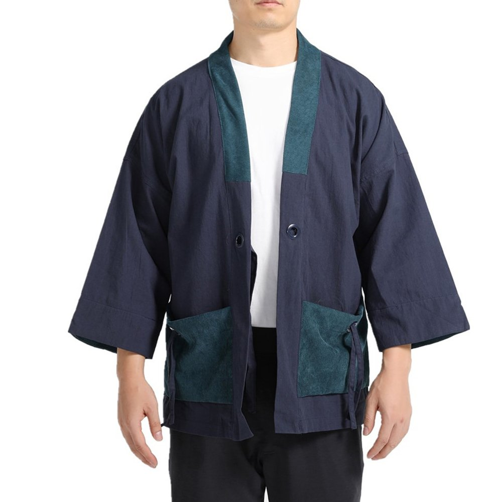 Men Japanese Kimono Cardigan Yukata Coat Leisurely Vintage Linen Cotton Jacket Shirts Tops