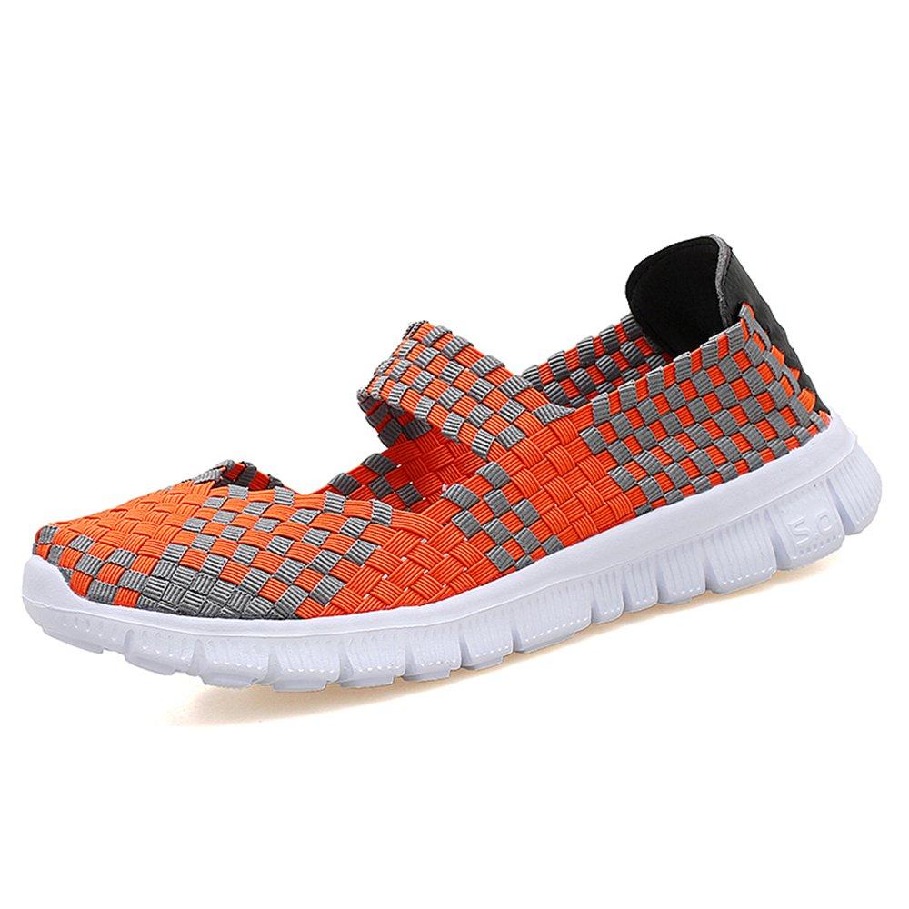 YMY Women's Woven Sneakers Casual Lightweight Sneakers - Breathable Running Shoes B07D5VXDJY US B(M) 6.5 Women|Orange