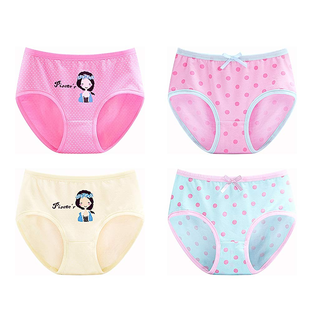 Lowestbest Toddler Girls Underwear Baby Soft Cotton Panties Kids Briefs Pack of 4