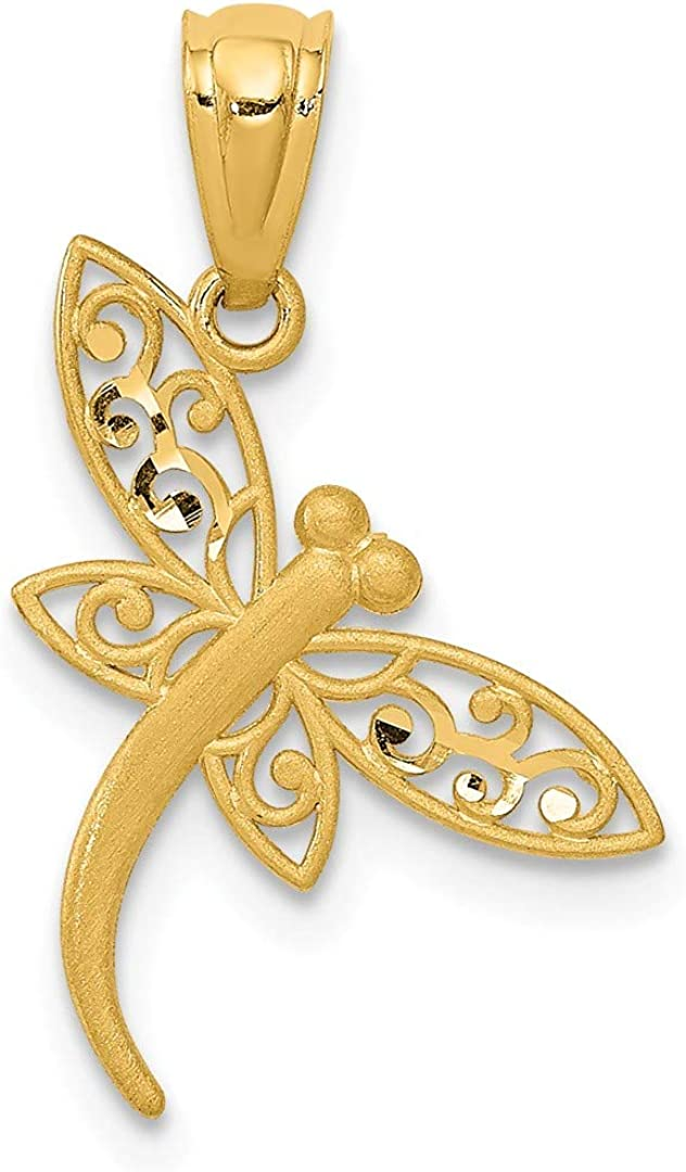 14k Yellow Gold Dragonfly Pendant