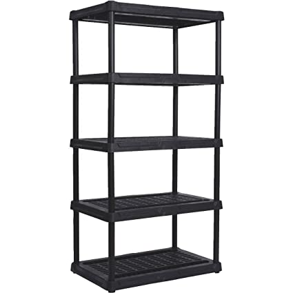 Remarkable Contico Plastic Shelving 5 Shelves 3618 5Bk Black 72 H X 36 W X 18 D Interior Design Ideas Lukepblogthenellocom