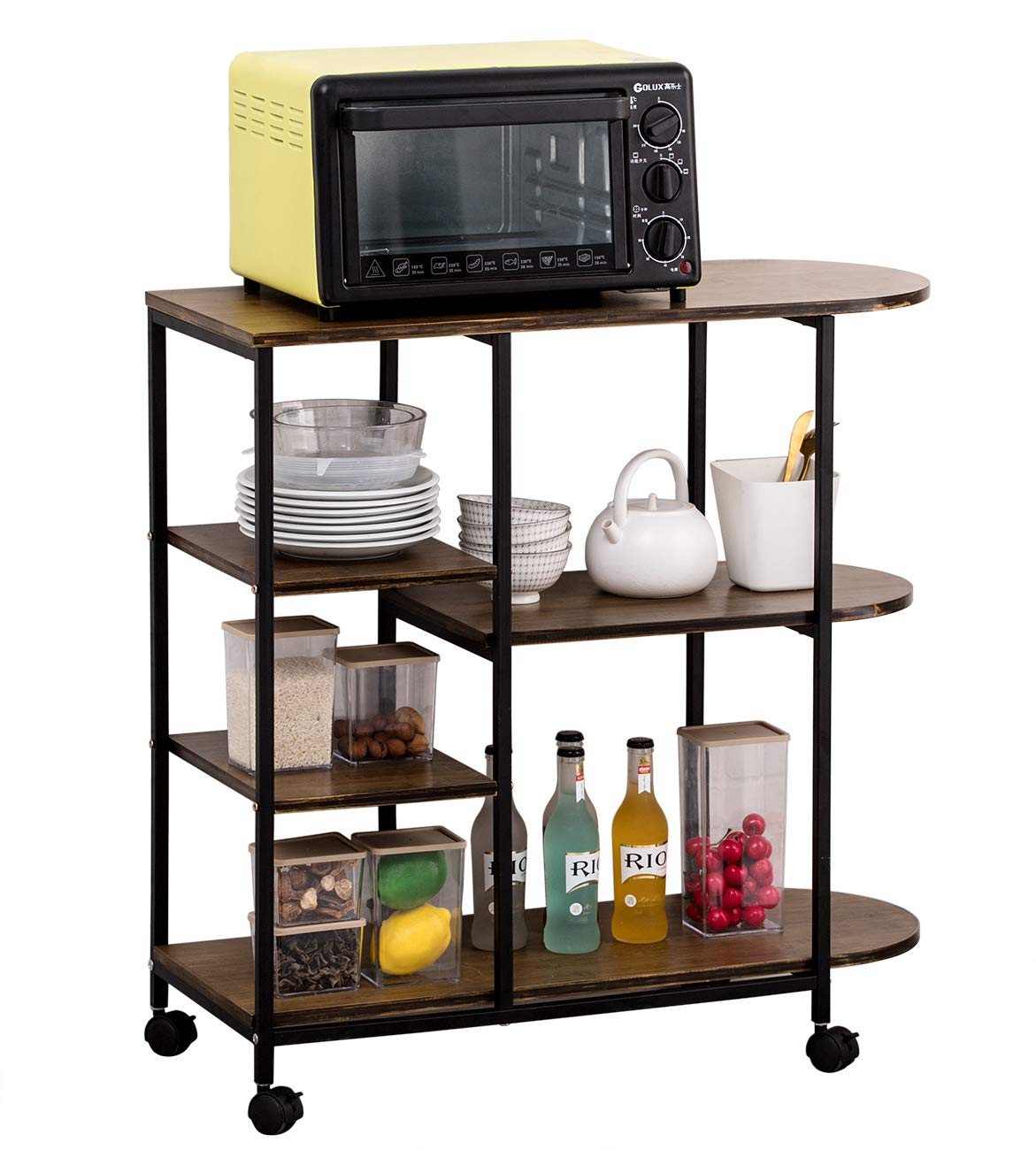 COPREE Rolling Wood Kitchen Island Trolley Utility Cart 3-Tier+3-Tier Microwave Oven Baker's Rack Stand Home Organizer Storage Shelf