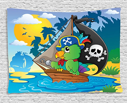 Ambesonne Parrots Decor Collection, Image With Pirate Parrot Theme Boat Danger Skull Crossbones Hat Sun Comic Cartoon, Bedroom Living Room Dorm Wall Hanging Tapestry, 80W X 60L (Cartoon Pirate Hat)