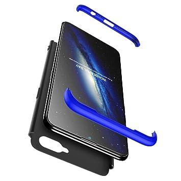 hyujia Funda Compatible Samsung A8(2018) 360 Grados Integral Ambas Caras+Cristal Templado,3 in 1 Slim Dactilares Protectora PC Hard Caso Skin Case ...