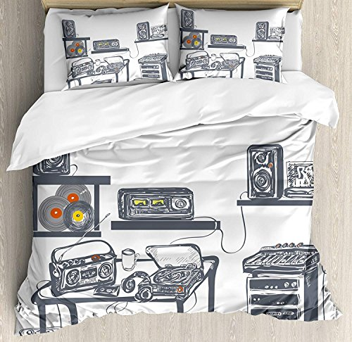 Price comparison product image Modern Duvet Cover Set King Recording Studio with Music Devices Turntable Records Speakers Digital Illustration Bedding Set 4 Piece Lightweight Bed Comforter Covers Includes 2 Pillow Shams Cadet Blue