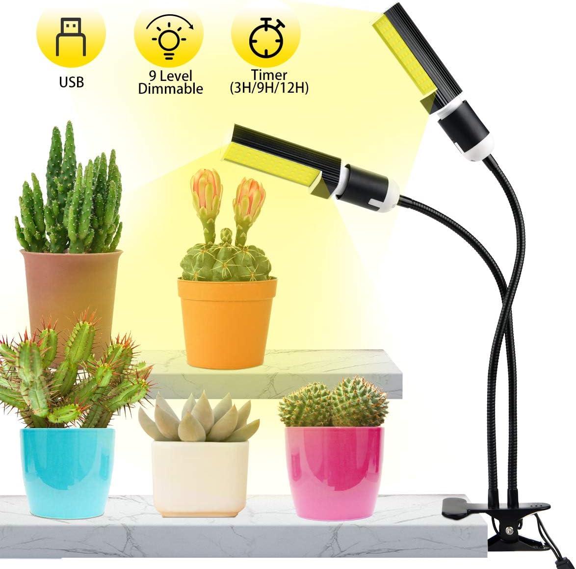 Luz de Plantas,Qomolo 45W 88LED Lámpara de Plantas Regulable 9 niveles, Espectro Completo Cabeza Dual Lámparas De Crecimiento Para Cultivo De Interior Plantas,Verduras, Flores Y Invernaderos Jardin