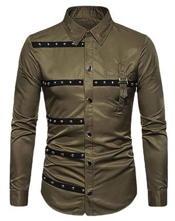Camisa de Manga Larga para Hombre, diseño gótico con Remaches y ...