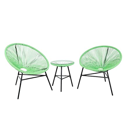 Mid Century Modern Patio Bistro Set Table And Chairs 3 Piece Green Acapulco